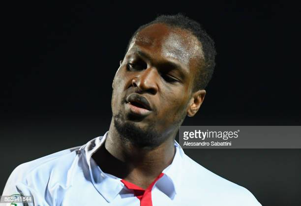 Jerry Mbakogu of FC Carpi reacts during the Serie B match between FC Carpi and US Citta di Palermo on October 24 2017 in Carpi Italy