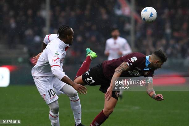 Jerry Mbakogu vies Raffaele Schiavi during Italy Serie B match between US Salernitana and Carpi FC at Stadium Arechi in Salerno Italy on 2 February...