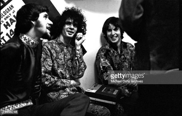 Jerry Miller of the rock and roll group 'Moby Grape' and musician Al Kooper chat backstage at Cafe Au Go Go on November 21 1967 in New York New York