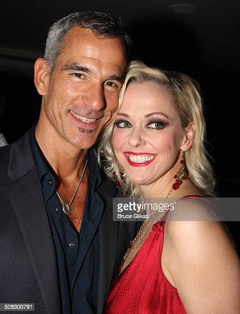 Jerry Mitchell and Angie Schworer pose during the opening night party for the world premiere of 'Minsky's' held at Ahmanson Theatre on February 6...