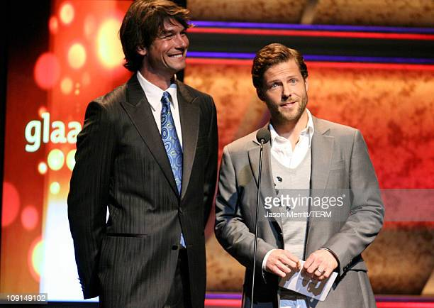 Jerry O'Connell and Jamie Bamber during 18th Annual GLAAD Media Awards - Show at Kodak Theatre in Hollywood, California, United States.
