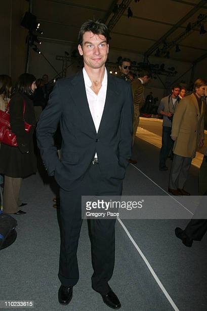 Jerry O'Connell during Olympus Fashion Week Fall 2005 Perry Ellis Menswear Fashion Show Backstage at Bryant Park Tents in New York City New York...
