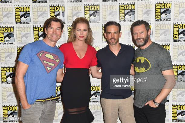 Jerry O'Connell Rebecca Romijn Christopher Gorham and Jason O'Mara attend 'The Death Of Superman Press Line during ComicCon International 2018 at...
