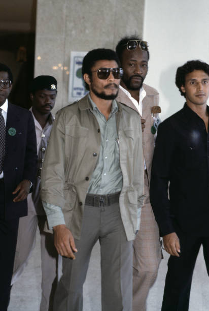 Jerry Rawlings le Président ghanéen au sommet de l'OUA 6 aoüt 1982 Libye