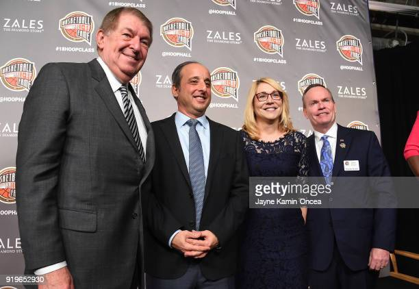 Jerry Reinsdorf member NBA Hall of Fame Doris Burke Andy Bernstein 2018 winners of the Curt Gowdy Media Awards and John Doleva president and CEO of...