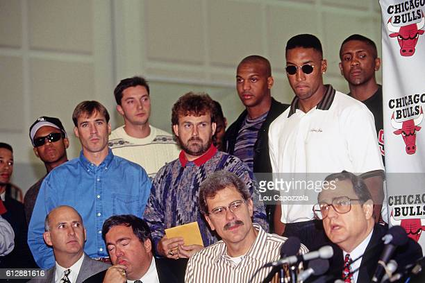 Jerry Reinsdorf speaks during Michael Jordan's Retirement Press Conference on October 6 1993 at the Chicago Bulls Practice Facility in in Deerfield...