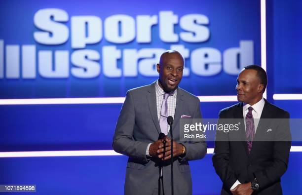 Jerry Rice and Sugar Ray Leonard speak onstage at Sports Illustrated 2018 Sportsperson of the Year Awards Show on Tuesday December 11 2018 at The...