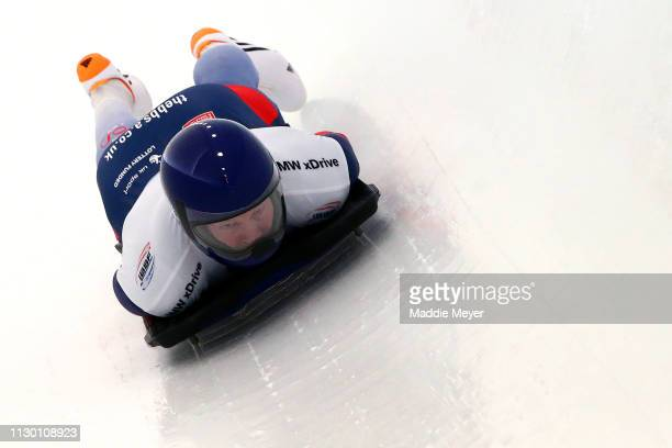 Jerry Rice of Great Britain competes during the first run of the Men's Skeleton on day 2 of the 2019 IBSF World Cup Bobsled & Skeleton at the Mount...