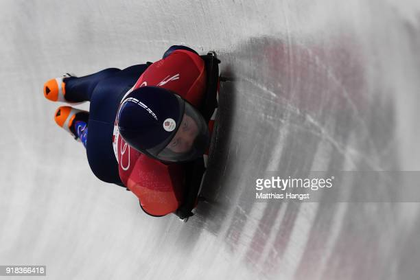 Jerry Rice of Great Britain slides during the Men's Skeleton heats on day six of the PyeongChang 2018 Winter Olympic Games at the Olympic Sliding...