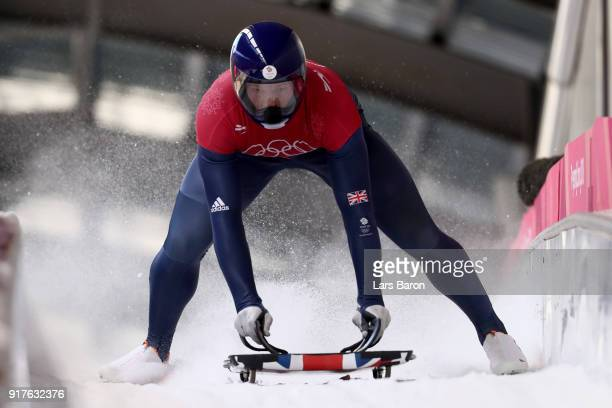 Jerry Rice of Great Britain trains during the Mens Skeleton training session on day four of the PyeongChang 2018 Winter Olympic Games at Olympic...