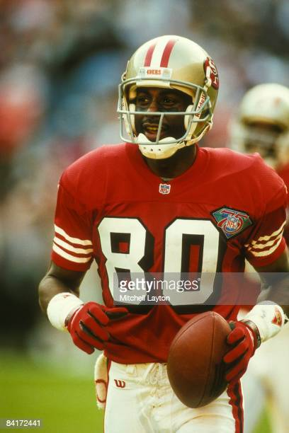 Jerry Rice of the San Francisco 49ers during a NFL football game against the Washington Redskins on September 4 1994 at RFK Stadium in Washington DC