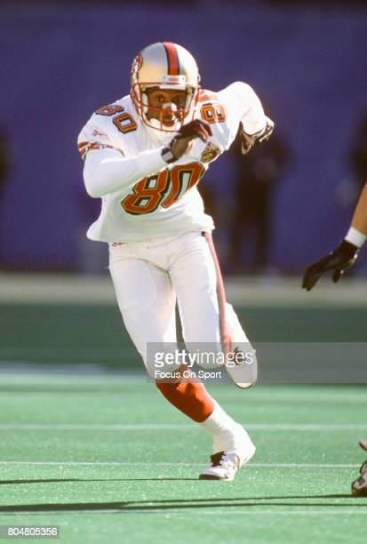 Jerry Rice of the San Francisco 49ers in action against the Pittsburgh Steelers during an NFL football game December 15 1996 at Three Rivers Stadium...