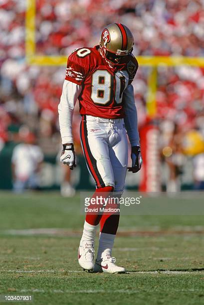 Jerry Rice of the San Francisco 49ers on the field during a National Football League game against the Cincinnati Bengals played in Candlestick Park...
