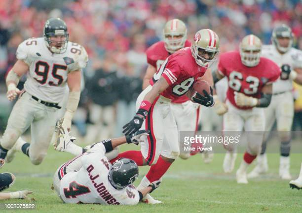 Jerry Rice Wide Receiver for the San Francisco 49ers during the National Football Conference West game against the Atlanta Falcons on 4 December 1994...