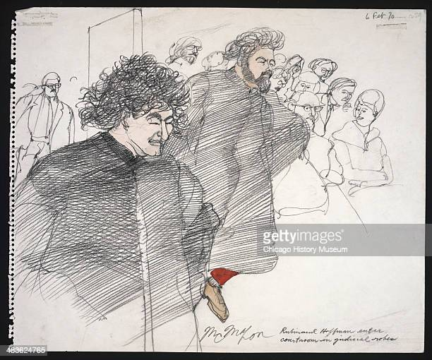 Jerry Rubin and Abbie Hoffman enter the courtroom wearing judicial robes in a courtroom illustration during the trial of the Chicago Eight Chicago...