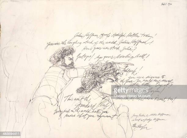 Jerry Rubin and Abbie Hoffman shout at the judge in a courtroom illustration during the trial of the Chicago Eight Chicago Illinois late 1969 or...