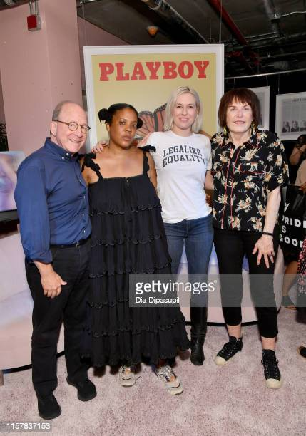Jerry Saltz Xaviera Simmons Natalie White and Marylyn Minter attend The Art of Sexuality Event at Playboy Playhouse on June 23 2019 in New York City