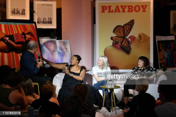Jerry Saltz Xaviera Simmons Natalie White and Marylyn Minter speak at The Art of Sexuality Event at Playboy Playhouse on June 23 2019 in New York City