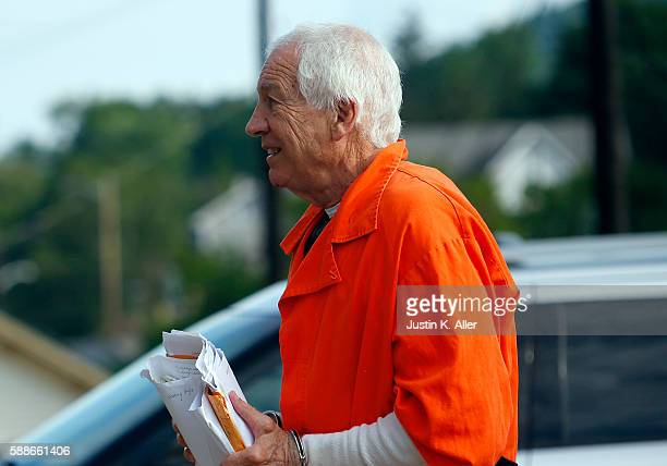 Jerry Sandusky enters the Centre County Courthouse to appeal his child sex abuse conviction on August 12 2016 in Bellefonte Pennsylvania Sandusky was...