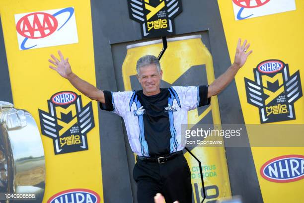 Jerry Savoie NHRA Pro Stock Motorcycle is introduced to the crowd during prerace festivities before the start of the NHRA AAA Midwest Nationals on...