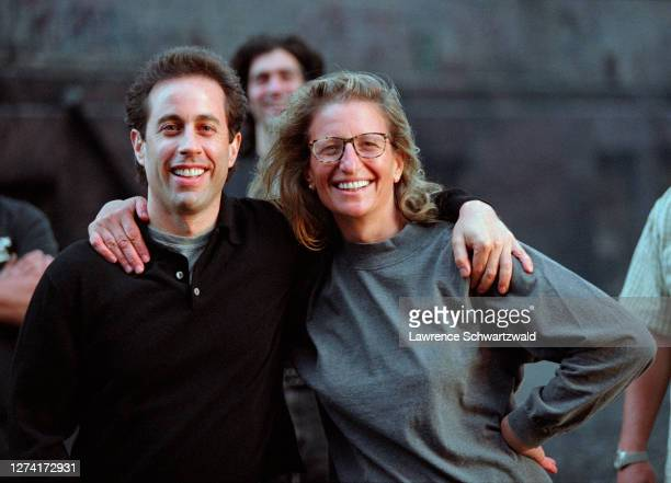 Jerry Seinfeld and acclaimed photographer, Annie Leibovitz, pose together after Annie photographed Jerry in a Manhole on Laight and Greenwich Streets...