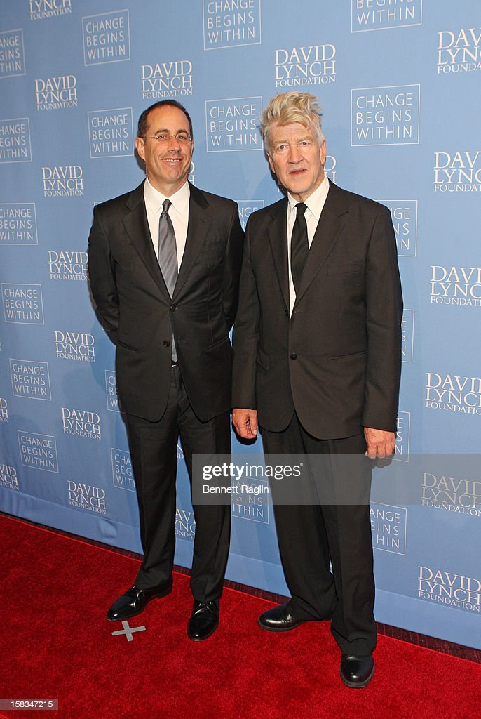 Jerry Seinfeld and David Lynch attend The David Lynch Foundation Hosts 'An Intimate Night Of Jazz' at Frederick P. Rose Hall, Jazz at Lincoln Center on December 13, 2012 in New York City.