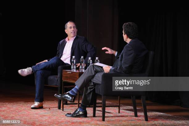 Jerry Seinfeld and David Remnick speak onstage during the 2017 New Yorker Festival at New York Society for Ethical Culture on October 6 2017 in New...