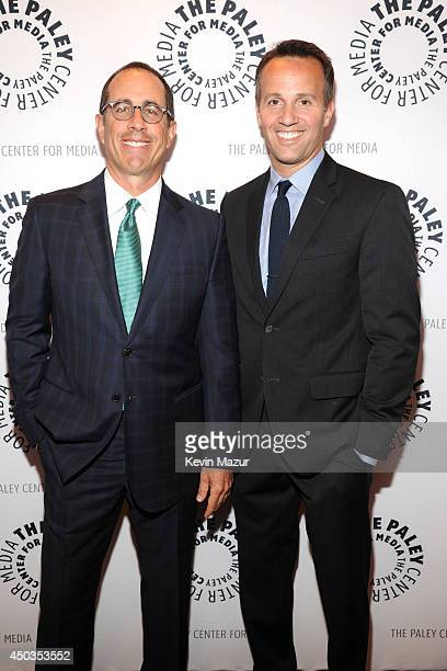 Jerry Seinfeld and Executive Vice President Sony Pictures Television Digital Networks and GM Crackle Eric Berger backstage before Jerry Seinfeld and...