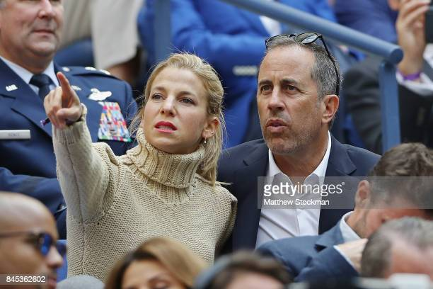 Jerry Seinfeld and his wife Jessica Seinfeld look on in the stands before the Men's Singles finals match between Kevin Anderson of South Africa and...