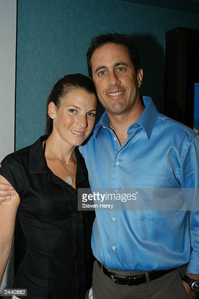 Jerry Seinfeld and his wife Jessica Sklar host a screening of the movie Capturing the Freidmans August 28 2003 in East Hampton New York