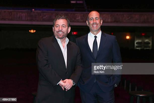 Jerry Seinfeld and James Dolan attend a Madison Square Garden Company Special Announcement at The Beacon Theatre on December 1 2015 in New York City...