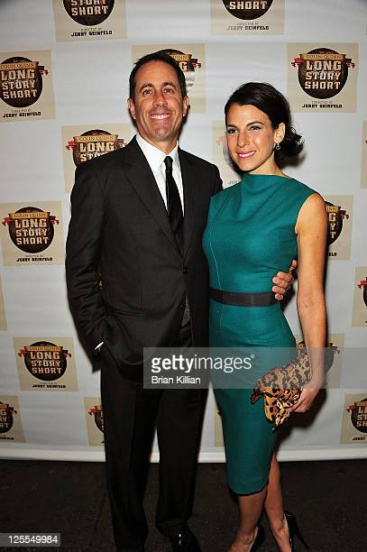 """Jerry Seinfeld and Jessica Seinfeld attend the Broadway opening night of """"Colin Quinn Long Story Short"""" at the Helen Hayes Theatre on November 9,..."""
