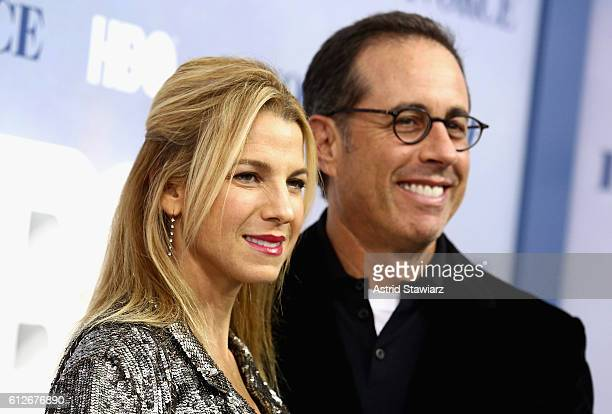 Jerry Seinfeld and Jessica Seinfeld attend the Divorce New York Premiere at SVA Theater on October 4 2016 in New York City