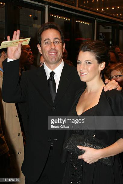 """Jerry Seinfeld and Jessica Seinfeld during Neil Simon's """"The Odd Couple"""" Broadway Opening Night at The Marriott Marquis Ballroom in New York City,..."""