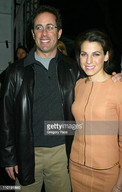 Jerry Seinfeld and Jessica Seinfeld during Olympus Fashion Week Fall 2004 - Narciso Rodriguez - Front Row and Backstage at The Tent at Bryant Park in...