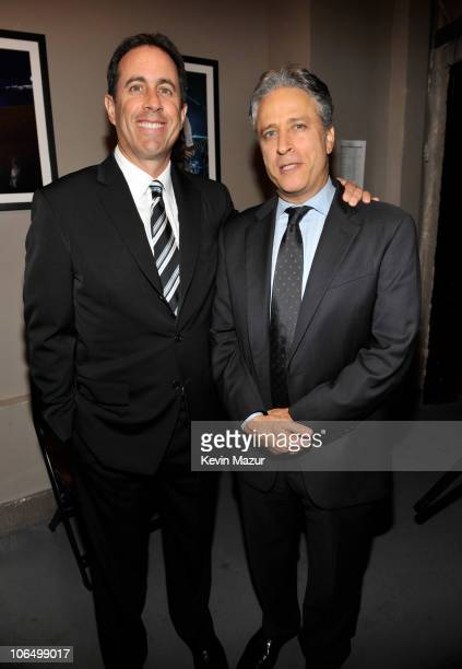 """Jerry Seinfeld and Jon Stewart backstage at """"Stand Up for Heroes"""" at the Beacon Theatre on November 3, 2010 in New York City."""