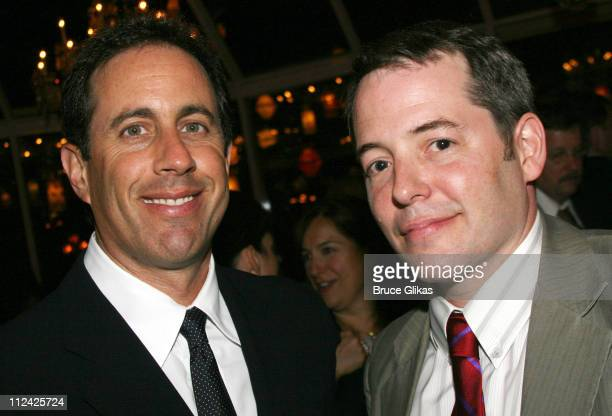 Jerry Seinfeld and Matthew Broderick during 'Martin Short Fame Becomes Me' Broadway Opening Night Arrivals at Bernard B Jacobs Theatre in New York...