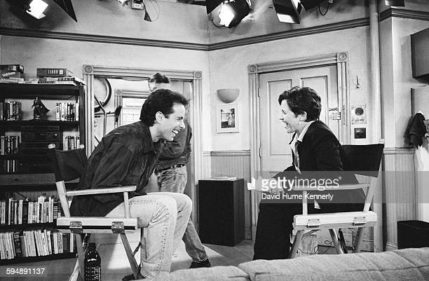 Jerry Seinfeld and The Today Show's Katie Couric having an on-set interview in between filming the last episode of the hit television show...