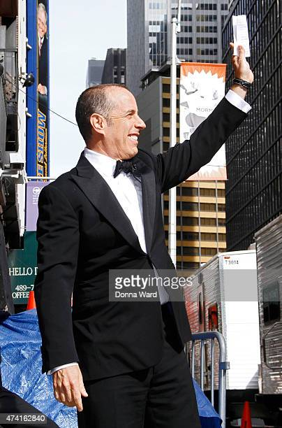 """Jerry Seinfeld arrives for the final episode of """"The Late Show with David Letterman"""" at the Ed Sullivan Theater on May 20, 2015 in New York City."""