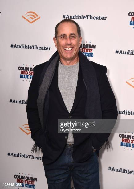 """Jerry Seinfeld attends the Opening Night for Colin Quinn's """"Red State Blue State"""" at Audible's Minetta Lane Theatre in NYC at the Minetta Lane..."""