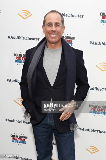 """Jerry Seinfeld attends the opening night of """"Colin Quinn: Red State Blue State"""" at the Minetta Lane Theatre on January 22, 2019 in New York City."""