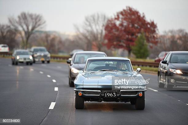 Jerry Seinfeld drives a 1963 Chevrolet Corvette along the George Washington Memorial Parkway during filming of the program Comedians in Cars Getting...