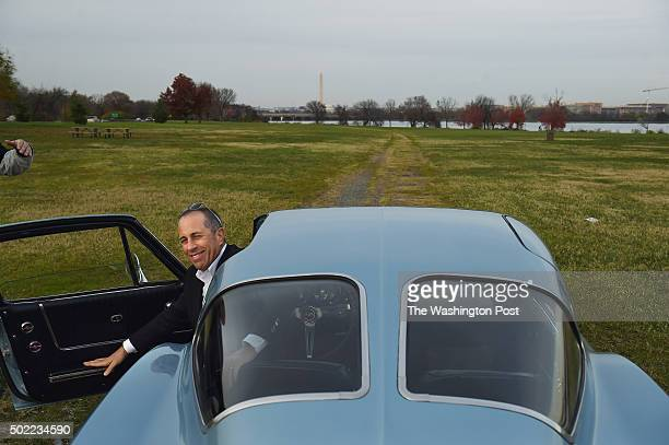 Jerry Seinfeld gets out of a 1963 Chevrolet Corvette at Gravelly Point Park as he and others worked on filming of the program 'Comedians in Cars...