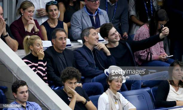Jerry Seinfeld hJessica Seinfeld french comedian Gad Elmaleh and his son Noe Elmaleh attend the men's final on day 14 of the 2018 tennis US Open on...