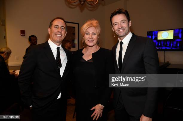 Jerry Seinfeld Hugh Jackman and DeborraLee Furness Jackman pose for a photo together during the National Night Of Laughter And Song event hosted by...