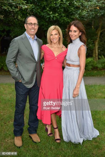 Jerry Seinfeld Jessica Seinfeld and Alison Loehnis attend The GOOD Foundation's Hamptons Summer Dinner cohosted by NETAPORTER on July 29 2017 in East...