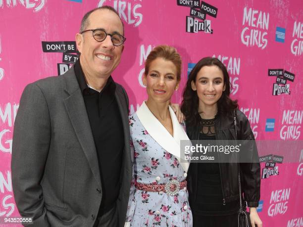 Jerry Seinfeld Jessica Seinfeld and Sasha Seinfeld pose at the arrivals for the openng night of the new musical based on the cult film Mean Girls on...