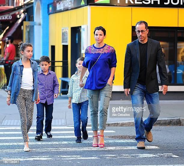 Jerry Seinfeld, Jessica Seinfeld, Sascha Seinfeld, Julian Kal Seinfeld and Shepherd Kellen Seinfeld(EXCLUSIVE COVERAGE0 are seen in Soho on September...