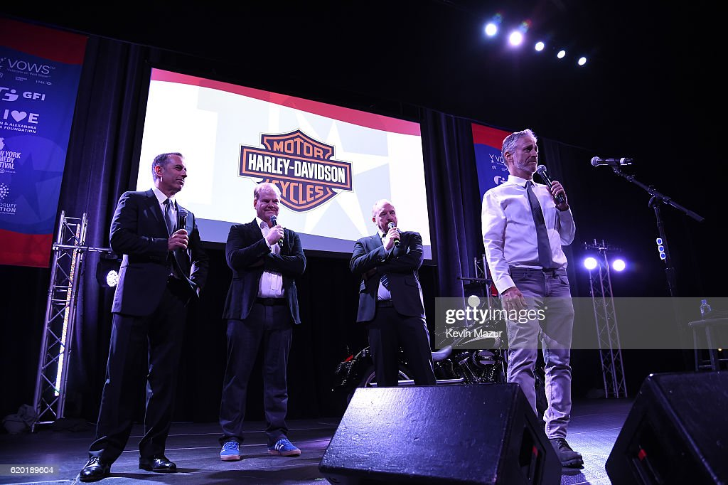 Jerry Seinfeld, Jim Gaffigan, Louis C.K. and Jon Stewart speak on stage as The New York Comedy Festival and The Bob Woodruff Foundation present the 10th Annual Stand Up for Heroes event at The Theater at Madison Square Garden on November 1, 2016 in New York City.