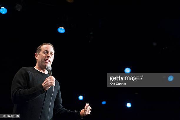 Jerry Seinfeld performs during the 'Comedy For A Cause' Benefit at Gotham Comedy Club on February 12 2013 in New York City